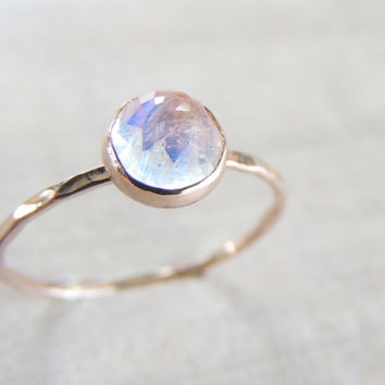 Rainbow Moonstone Ring, 14k Solid Gold Ring, Rose cut Ring, Gemstone Ring, Stacking Ring, Rose Gold Ring, Skinny Ring, Sexy Jewelry, Mystic