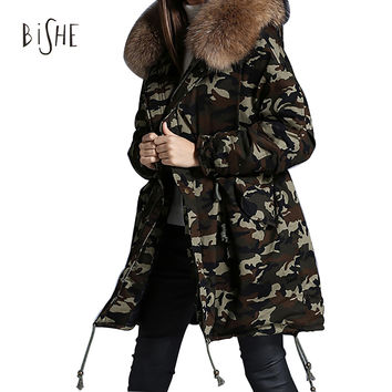 2016 Women Winter Parka Military Camouflage Fur Collar Hooded Coat Outwear Fox Fur Collar Snowimage Winter Jacket Brands