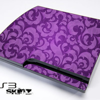 Purple Lace Print Skin For The Playstation 3 Original and Slim Series