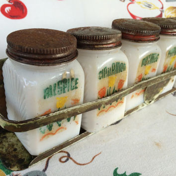 1940s McKee Tulips Spice Jars and Metal Rack Milk Glass Vintage Kitchen Shabby Chic