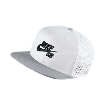 Nike SB Performance White Grey Trucker Adjustable Hat Cap Hip Hop Gym 629243-101