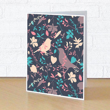 Blank greeting card, Note card for her, Colourful stationery, 4x5 or 4x6 inches folded