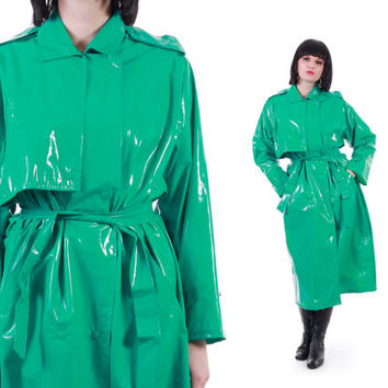 Turquoise PVC Trench Coat 80s 90s Vinyl Wippette Mac Club Kid Futuristic Rave Club Kid RARE Vintage Clothing Womens Size 2X