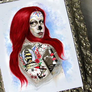 Lighthouse Keeper - Day of the Dead Watercolor Print