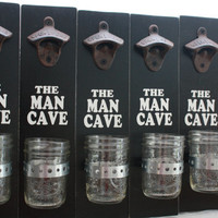 Wall Mount Bottle Opener with Mason Jar Cap Catcher--(Set of 6)-Groomsmen Wedding Party Gift