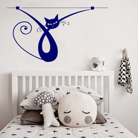 Cat Wall Decals Funny Kitten Hanging Vinyl Sticker Pet Pets Shop Love Animals Decal Home Interior Art Mural Kids Nursery Room Decor KG779