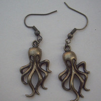 BABY OCTOPUS earringsbrass by qizhouhuang on Etsy