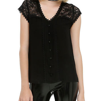 Black Lace Skull Top