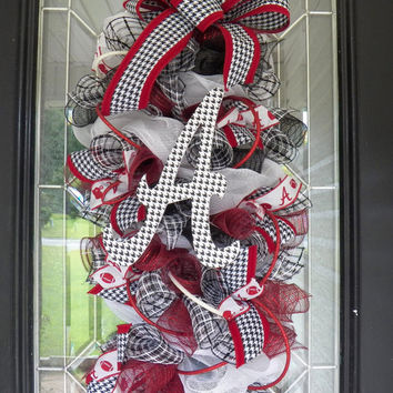 Alabama Football Door Hanger, Alabama Crimson Tide, Roll Tide, Alabama Football Wreath, Ready to Ship