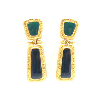 Dark Green and Black Enamel Gold Tone Post Earrings Dangle Drop Matte Gold Designer Signed Vintage Estate Fashion Costume Jewelry