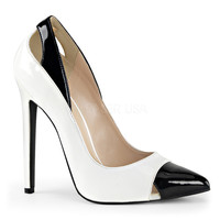 "Sexy 22 Pointed Toe 5"" Heel Spectator Pump White"