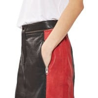 Topshop Colorblock Leather Skirt | Nordstrom