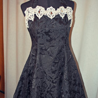 Black & White Vintage Lolita Prom Dress with Lace, Stones, and Tulle