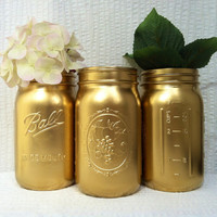 Gold Painted Mason Jar Vases/Home Decor (Set of Three)