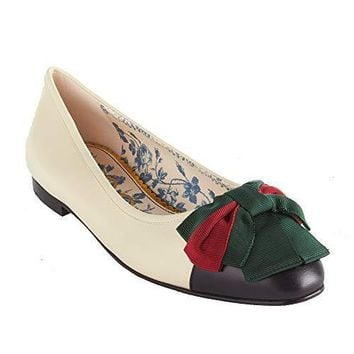 Gucci Women's Leather Web Bow Ballet Flat Shoes