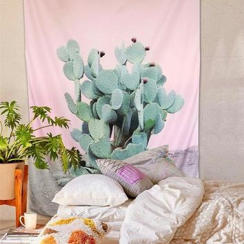 Prickly Pear Desert Cactus Pink Wall Tapestry