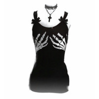 "Women's ""Manhandled"" Tank w/skeleton hands - CORSET BACK/BLACK"