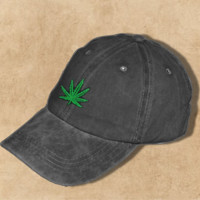 Distressed Black Cap with Cannabis Leaf