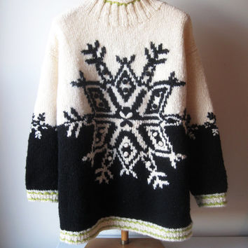 Vintage 1980s Chunky Wool Sweater 80s Express Sweater Black White Boho Snowflake Valentines Day