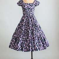 Vintage 1950s Jerry Gilden Purple and Pink Floral Dress