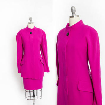 Vintage ESCADA Suit - Fuschia Wool Skirt + Jacket Set 1980s - Medium