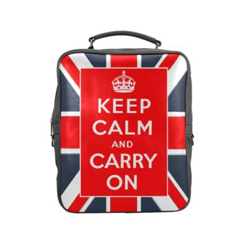 Psylocke Genuine Leather Backpack with Keep Calm and Carry On Print