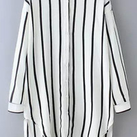 White Striped Pointed Flat Collar Long Sleeve Blouse