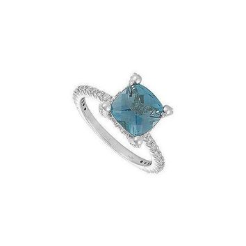 MDIGMS9 Blue Topaz and Diamond Ring : 14K White Gold - 2.50 CT TGW