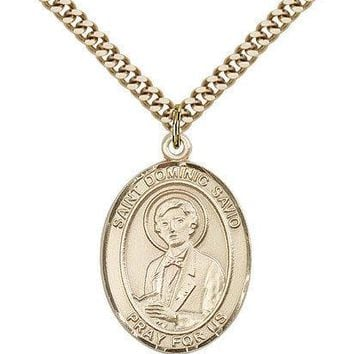 "Saint Dominic Savio Medal For Men - Gold Filled Necklace On 24"" Chain - 30 Da... 617759208450"