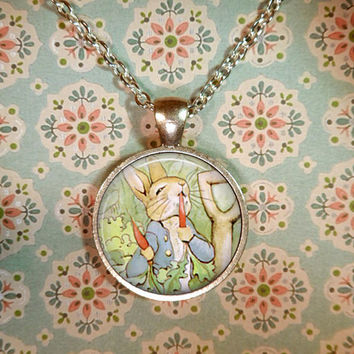 Beatrix Potter Necklace, Peter Rabbit, Literary, Books, Fairy Tales, Literature, Whimsical, Steampunk T904