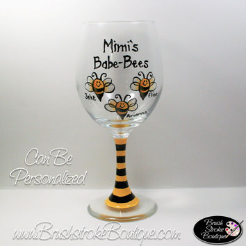 Hand Painted Wine Glass - Babe-Bees - Original Designs by Cathy Kraemer
