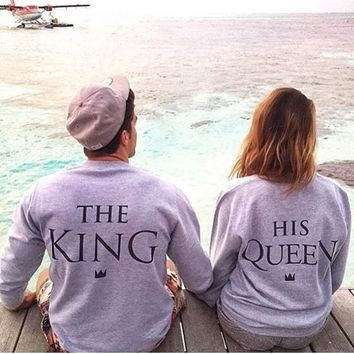Grey Monogram The King Print Round Neck Long Sleeve Casual Pullover Sweatshirt