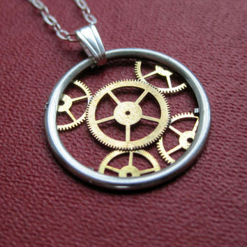 "Gear Necklace ""Osmotic"" Recycled Mechanical Watch Gears and Intricate Sculpture Wearable Art Not Quite Steampunk Assembly Necklace"