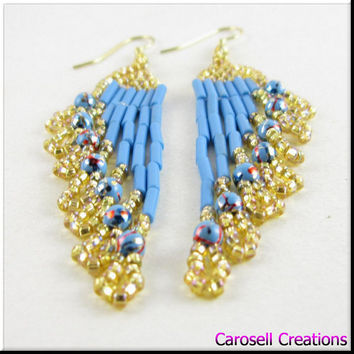 Beadwork Chandeleir Dangle Seed Bead Earrings Ripples in Turquoise and Gold