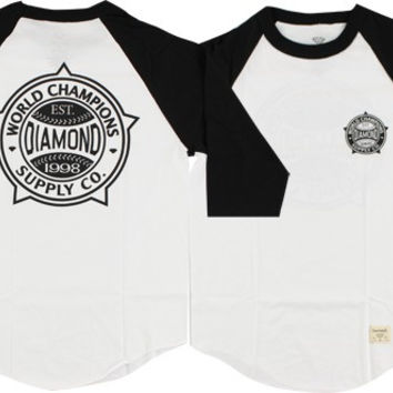 Diamond World Renowned Raglan 3/4 Sleeve Small White/Black