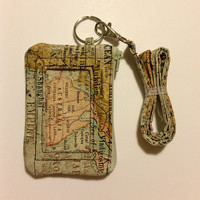 Hand Made Lanyard With ID Wallet in Map Print With Extra Zipper