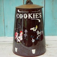 Cookie Jar  Old Rooster Chicken Barn Yard by honeystreasures