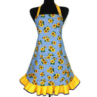 Sunflower Apron , Blue Check with Yellow Ruffle , Retro Country Kitchen Decor