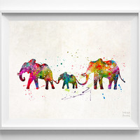 Elephants Print, Animal Art, Type 2, Watercolor Art, Nursery Posters, Artwork Sale, Dorm Decor, Playroom Wall Art, Halloween Decor