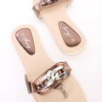 Bronze Chain Detail Thong Sandals Faux Leather