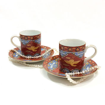 Pair Japanese Demitasse Cups & Saucers, Imari Style Demitasse,  Asian Crane Motif, Deadstock, Porcelain Cups, Estate, Vintage Tea Cups