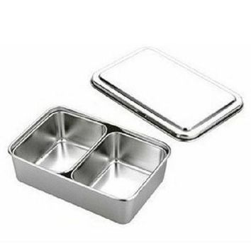 2 Lattice Nonmagnetic Japanese Type Square Seasoning Box Stainless Steel