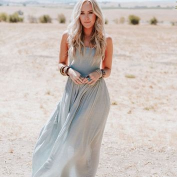 Extratropical Halter Maxi Dress - Blue Gray