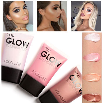 2017 Face Highlighter Waterproof Contour Make Up Glitter Brighten Focallure Brand Shimmer Glow Liquid Highlighters Makeup