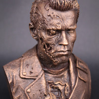 Terminator T800 Bronze statue model bust arnold schwarzenegger I'll be Back quotes movie hwd celebs 80's