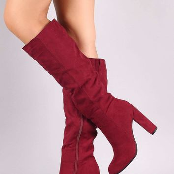 Bamboo Ruched Almond Toe Chunky Heel Knee High Boot