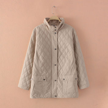 Plus Size Women Lightweight Diamond Quilted Beige Long Jacket Coat Outwear Parka Large Size Women Clothing Big Size 4XL 5XL 6XL