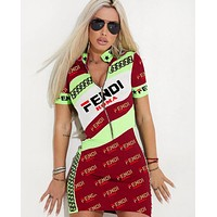 FENDI Summer Hot Sale Women Sexy Print Half Zipper Short Sleeve High Collar Dress Red