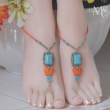 Turquoise Coral Silver Butterfly Boho Beaded Barefoot Sandals