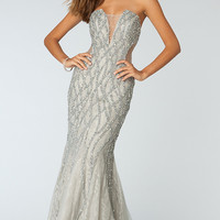 Strapless Rhinestone Floor Length Dress